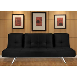 Serta Toronto Sofa Lounger- Black/Chrome