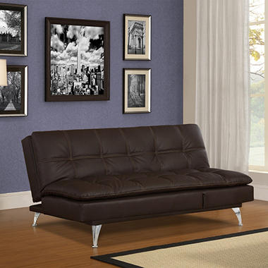 Serta Gabrielle Chocolate Bonded Leather Convertible Sofa