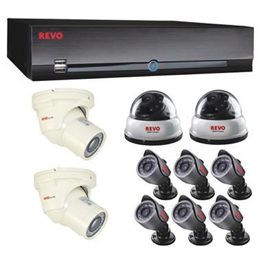 REVO America 16 Channel Surveillance System, 2 540 TVL dome cameras, 6 540 TVL bullet cameras, 2 600 TVL turrent cameras