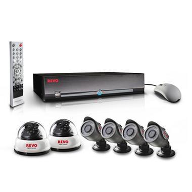 REVO America 8 Channel Surveillance System, 2 540 TVL Dome cameras, 4 540 TVL Bullet cameras