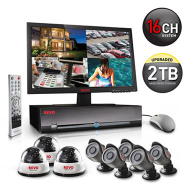 REVO America 16 Channel Surveillance System, 3 540 TVL Dome Cameras, 5 540 TVL Bullet Cameras