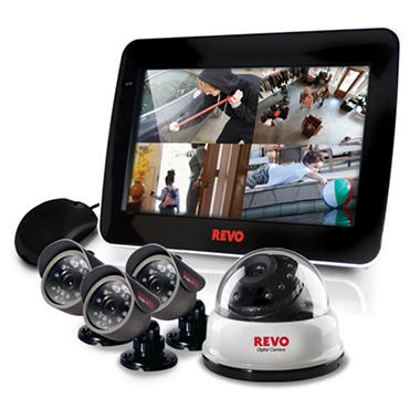 REVO America 4 Channel Combo System, with 1 Dome Camera, and 3 Bullet Cameras