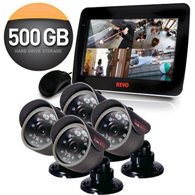 "Revo 4 Channel Security System with 4 x 420TVL 33' Night Vision, 10.5"" Built-in Monitor, and 500GB DVR"