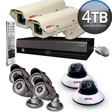 Revo 16 Channel Security System with 6 Quick Connect Cameras, 2 Elite Cameras, and 4TB DVR