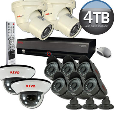 Revo 16 Channel Security System with 8 Quick Connect Cameras, 2 Elite Cameras, and 4TB DVR