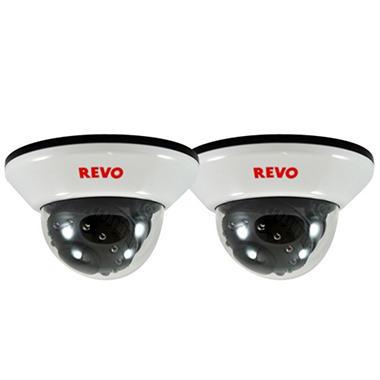 Revo 2 Pack Bundle of Indoor 600TVL Dome Cameras and BNC Conversion Kits