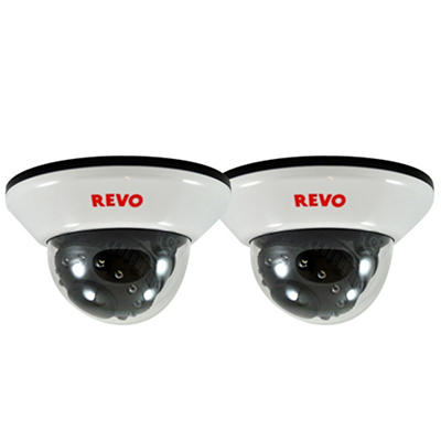 Revo 2 Pack Bundle of Indoor 600TVL Dome Cameras and BNC Conversion Kits
