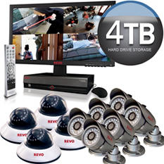 Revo 16 Channel Security System with 10 x 600TVL 80' Night Vision, and 4TB DVR