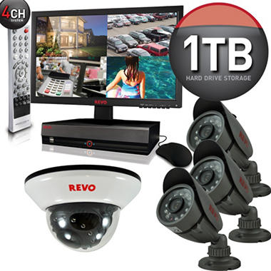 Revo 4 Channel Security System with 4 x 600TVL 33' Night Vision, 18.5, and 1TB DVR