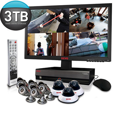 Revo 16 Channel Security System with 8 x 600TVL Surveillance Cameras, 80' Night Vision, and 3TB DVR