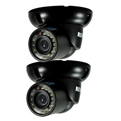 REVO 2 Pack Bundle of 700 TVL Indoor/Outdoor Mini Turret Security Cameras with BNC Conversion Kit and 100' Night Vision