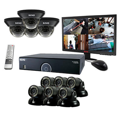 "Revo 16 Channel Security System with 10 700TVL, 4TB Hard Drive, 100' Night Vision, and 23"" Monitor"