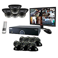 REVO 16 Channel 960H Security System with 4TB Hard Drive, 10 700TVL (960H) Cameras, 23'' LED Monitor, and 100' Night Vision