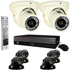 REVO 16 Channel Security System with 4 Mini Turret Cameras, 2 Elite Turret Cameras, and 4TB Hard Drive