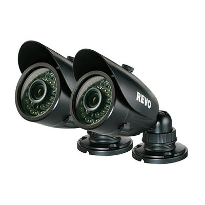 REVO 2 Pack Bundle of 700TVL Indoor/Outdoor Bullet Security Cameras with 100' Night Vision and BNC Conversion Kit