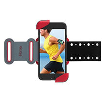 iHome Sports Universal FlexBand Phone Holster and Armband with Breathable Holes (Red)