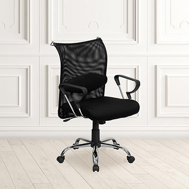 Flash Furniture Mid Back Manager 39 S Mesh Chair Black Sam