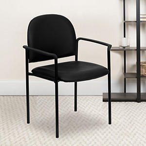 Hercules Vinyl Stacking Steel Side Chair with Arms, Black