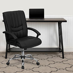 Flash Furniture Mid-Back Leather Manager's Chair Black