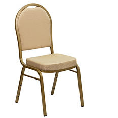 Flash Furniture Fabric Banquet Stack Chair with Gold Vein Frame - Beige