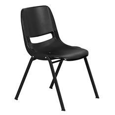 Flash Furniture Ergonomic Shell Stacking Chair Black