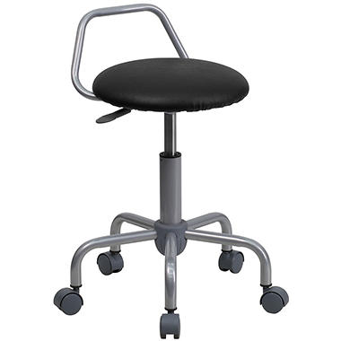 Ergonomic Stool w/ Black Vinyl Seat