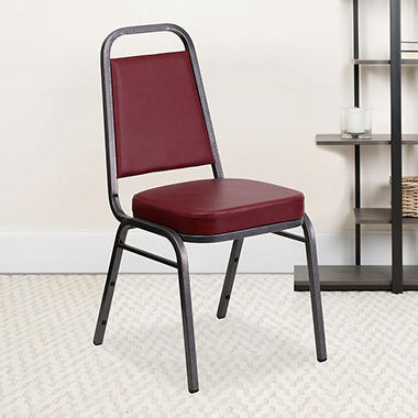 Flash Furniture Vinyl Banquet Stack Chair Burgundy