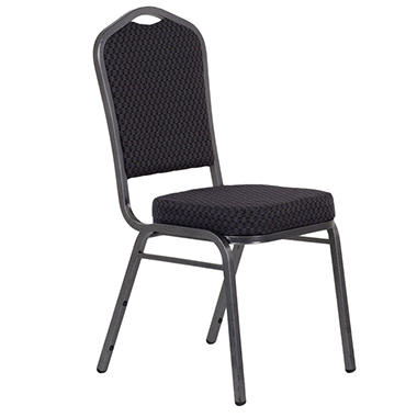 Fabric Crown Back Banquet Chair, Black - 20 Pack