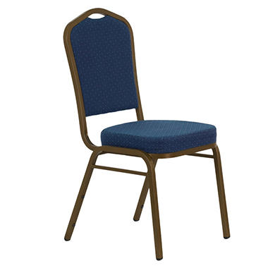 Fabric Crown Back  Banquet Chair, Navy - 20 Pack