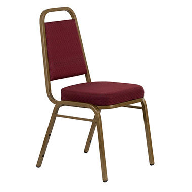 Banquet Stack Chair with Gold Frame, Burgundy - 40 Pack