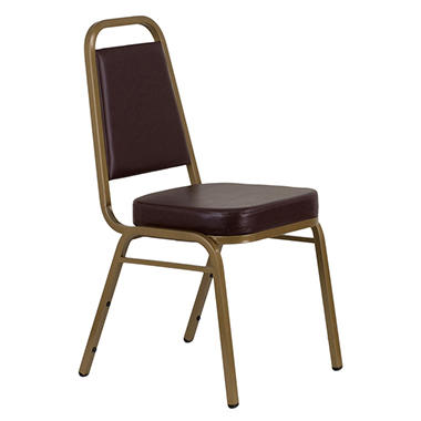 Vinyl Banquet Stack Chair with Gold Frame, Brown - 40 Pack