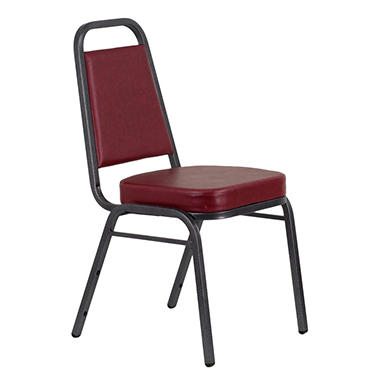 Vinyl Banquet Stack Chair with Silver Frame, Burgundy - 40 Pack