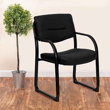 Flash Furniture Leather Executive Side Chair with Sled Base - Black