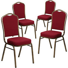 Flash Furniture - Fabric Crown Back Banquet Chair - Burgundy