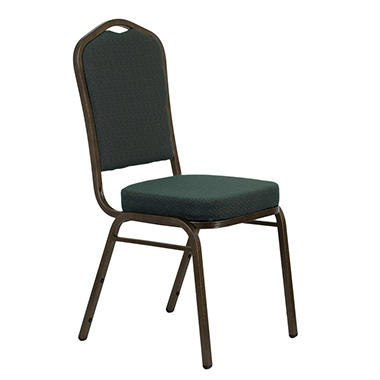 Fabric Crown Back Banquet Chair, Green - 20 Pack