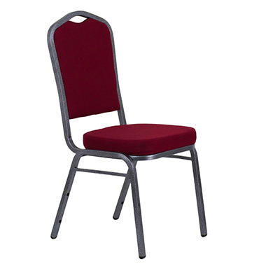 Fabric Crown Back Banquet Chair, Burgundy - 20 Pack