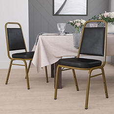 Flash Furniture Vinyl Banquet Stack Chair with Gold Frame - Black