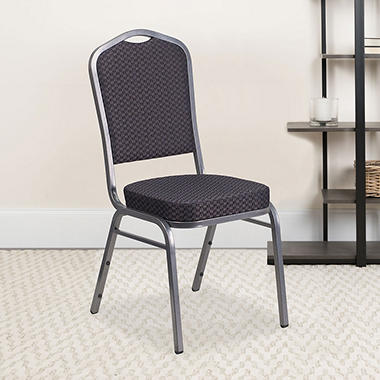 Flash Furniture Fabric Banquet Stack Chair with Silver Frame, Black