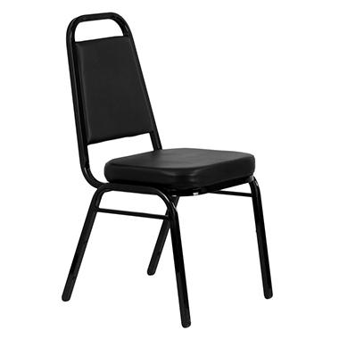Vinyl Banquet Stack Chair with  Black Frame, Black - 10 Pack