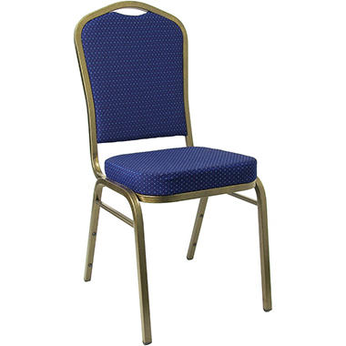 Fabric Crown Back Banquet Chair, Navy - 10 pk.