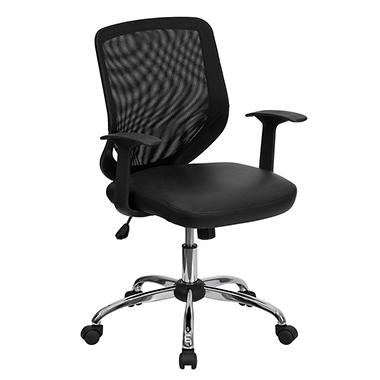 Mesh Office Chair with Black Leather Seat