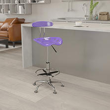 Flash Furniture Tractor Seat Drafting Chair- Violet