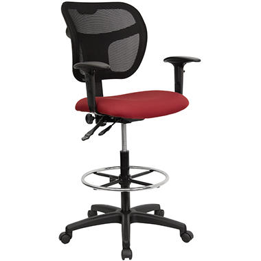 Flash Furniture - Burgundy Fabric and Mesh Drafting Stool with Arms