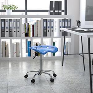 Flash Furniture Multi-Purpose Chrome Frame Stool - Bright Blue