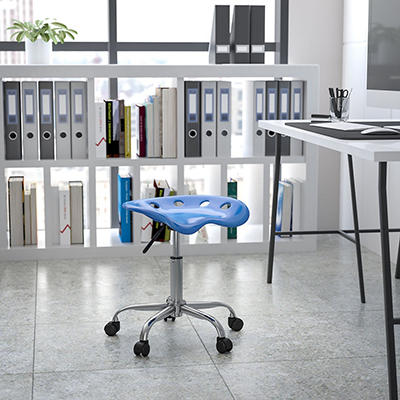 Flash Furniture - Multi-Purpose Chrome Frame Stool - Bright Blue