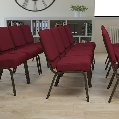 Hercules - Extra Wide Stacking Church Chair with Gold Vein Frame, Burgundy