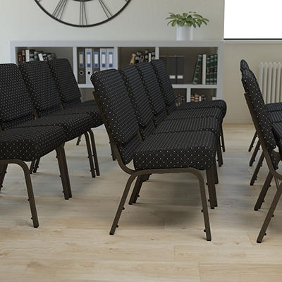 Hercules - Extra Wide Stacking Church Chair with Gold Vein Frame, Black