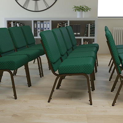 Hercules - Extra Wide Stacking Church Chair with Gold Vein Frame, Hunter Green