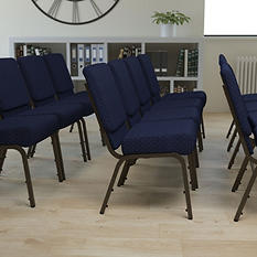 Hercules - Extra Wide Stacking Church Chair with Gold Vein Frame, Navy
