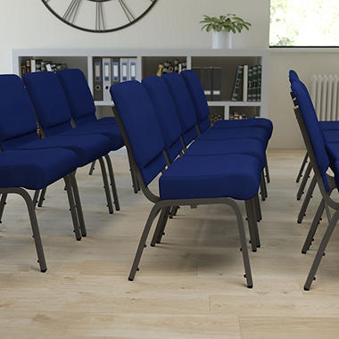 Hercules - Extra Wide Stacking Church Chair with Silver Vein Frame, Navy